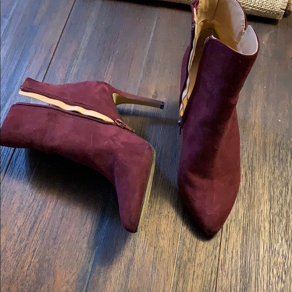 Express Shoes - Express Maroon Suede Bootie